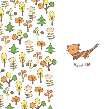 Cute hand drawn doodle card, brochure, cover with tiger, trees, heart, flowers, leaves, forest nature elements. Baby shower postcard. Motivating, inspiration quote background