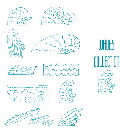 high sea: Cute hand drawn doodle sea, ocean waves collection including storm, calm, shore, surfing, high waves. Wave icon, banner, logo Illustration