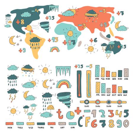 arcoiris caricatura: Pronóstico infografía con nubes, lluvia, sol, luna, arco iris, huracán, nieve lindo mano del tiempo del doodle Vectores
