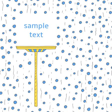 main Doodle fenêtre dessinée avec des bulles, la fenêtre brosse et un espace de texte. Fenêtre de nettoyage publicité, bannière, fond