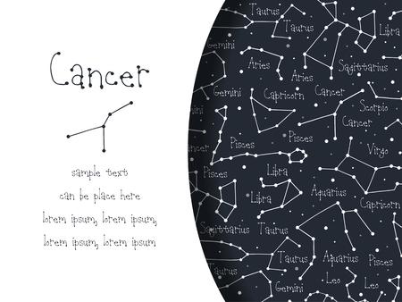 Hand drawn doodle Cancer astrological sign card, brochure, booklet, cover. Astrological horoscope background