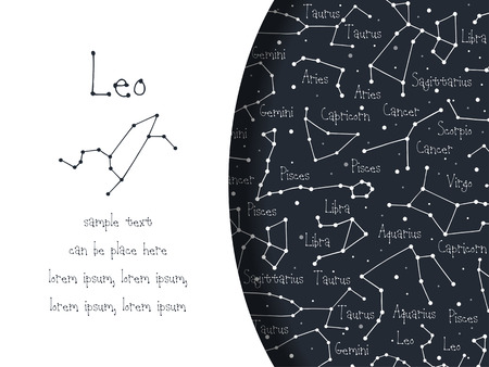 astrological: Hand drawn doodle Leo astrological sign card, brochure, booklet, cover. Astrological horoscope background