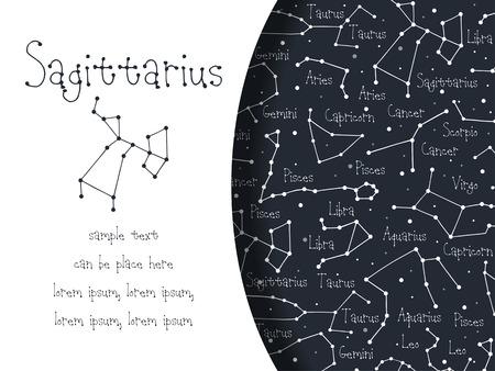 Hand drawn doodle Sagittarius astrological sign card, brochure, booklet, cover. Astrological horoscope background Vetores