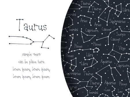Hand drawn doodle Taurus astrological sign card, brochure, booklet, cover. Astrological horoscope background