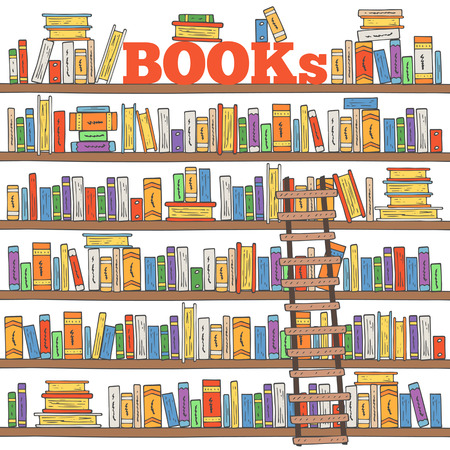 Hand drawn doodle books shelves collection. Background with books and ladder for store, library, reading club