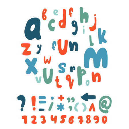 Cartoon hand drawn doodle alphabet. Children letters collection. Sea theme, nautical red and blue letters set