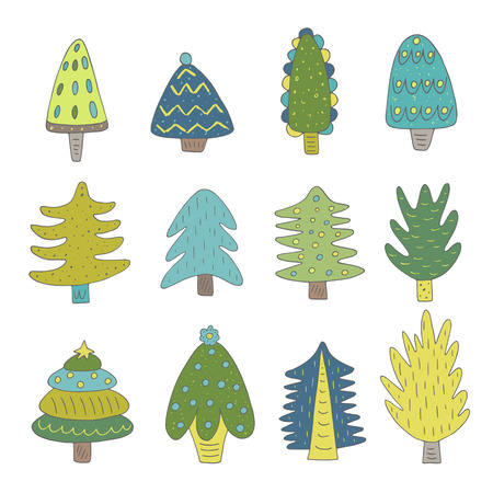 Cute hand drawn doodle christmas trees collection with balls, star. Nature design elements
