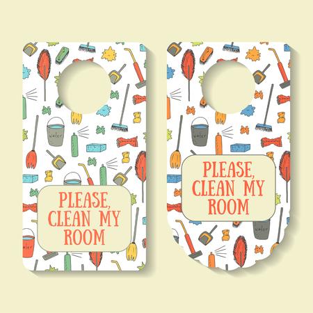 Please, clean my room banner for door interior with brush, rubbish, vacuum cleaner, broom, shovel, bucket with water, sponge, fresher. Door handle creative doodle sign