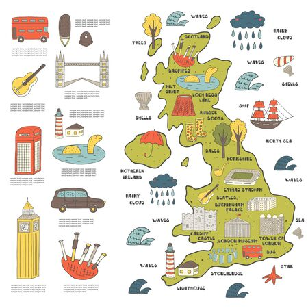 castle silhouette: Cute hand drawn doodle map on England with sightseeing and objects including bus, tower bridge, big ben, ship, cloud, umbrella