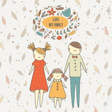 Cute hand drawn doodle card, postcard, background with family including mother, father and daughter.