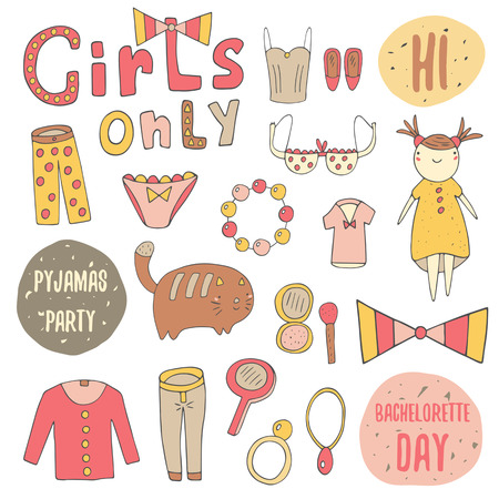 t background: Cute doodle girl objects collection including pyjamas, bow, panties, t shirt, mirror, eye shadows