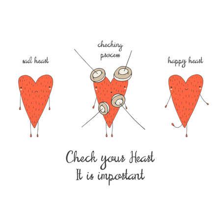 Śliczne ręcznie rysowane karta doodle, broszura, plakat z serca. Serce zdrowia tła. Serce sprawdzanie motywujący pocztówki