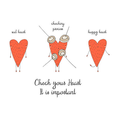 Cute hand drawn doodle card, brochure, poster with heart. Heart health background. Heart checking motivating postcard