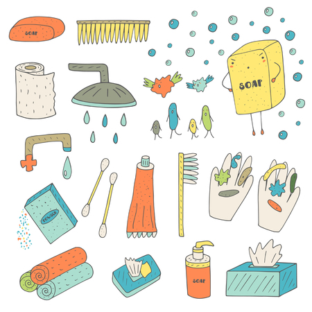 bathroom cartoon: Cute hand drawn doodle hygiene, body health objects collection including soap, shower, toothpaste, toothbrush