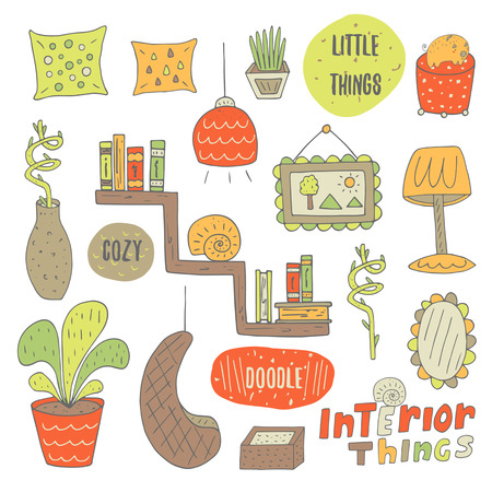 padded: Cute hand drawn doodle objects for interior design including pillow, lamp, picture, plant, flower, mirror, basket, books