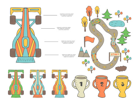 mountain road: Hand drawn doodle race infographic with different sport objects including car, road, flag, trees, lake, mud spot, mountains, golden, silver, bronze cups