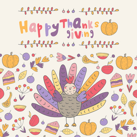 Cute hand drawn doodle Thanksgiving day card, postcard, background with turkey, pumpkin, berry, cake, flower Ilustracja