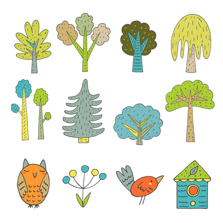 Cute hand drawn doodle trees collection, owl, berry plant, bird, bird house. Forest nature design elements 矢量图像