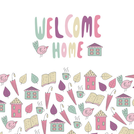 postcard back: Cute hand drawn doodle card, postcard, cover with welcome home text. Objects collection including house,book, bird, umbrella, cup of tea, leaves. Positive background for someone who back home