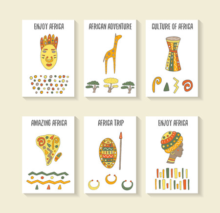 drum: Cute hand drawn doodle africa theme cards, postcards, covers with tribal mask, giraffe, drum, continent, african woman