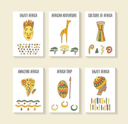 tambor: dibujado a mano doodle de tarjetas de tema de �frica lindo, tarjetas postales, cubiertas con la m�scara tribal, jirafa, tambor, continente, mujer africana
