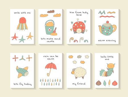Cute hand drawn doodle baby shower cards, brochures, invitations with jellyfish, sea star,lady bird, kettle, plane, umbrella, bucket with sand and shovel, sheep,caterpillar. Cartoon animals background Illustration