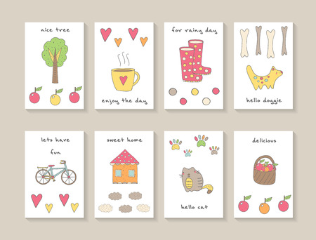 Cute hand drawn doodle cards, brochures, invitations with tree, cup of tea, hearts, apples, dog