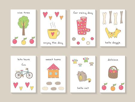 monas: tarjetas lindas del doodle dibujado a mano, folletos, invitaciones con el árbol, taza de té, corazones, manzanas, perro