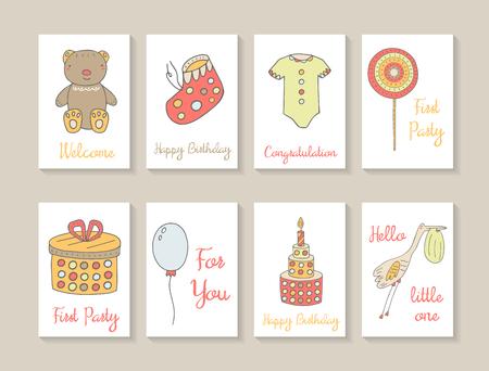 cicogna: Carino mano carte doodle disegnati baby shower, brochure, inviti con orsacchiotto, stivali bambino, lecca-lecca, casella presente, palloncini, torta, cicogna con il bambino nel becco, vestiti del bambino. Cartoline per il compleanno, festa