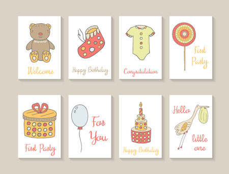 postcard background: Cute hand drawn doodle baby shower cards, brochures, invitations with teddy bear, baby boots, lollipop, present box, balloon, cake, stork with baby in beak, baby clothes. Postcards for birthday, party Illustration