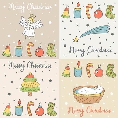 new born baby: Cute hand drawn doodle merry Christmas cards, postcards, covers collection with angel, falling star, baby Jesus, christmas tree, sock, candle, candy stick Illustration