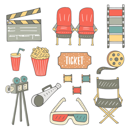 clap board: Hand drawn doodle cinema industry objects collection including chair, popcorn, soda, film, camera, glasses, director chair, ticket, loudspeaker, clap board. Cinema icons set