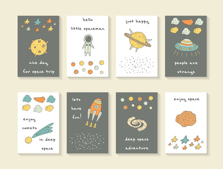 Cute hand drawn cosmic doodle cards, brochures, postcards with stars, rocket, moon, comet, meteor, galaxy, spaceman, planet saturn and alien ship. Cartoon style covers for children
