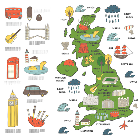 buckingham palace: Cute hand drawn doodle map on England with sightseeing and objects including bus, tower bridge, big ben, ship, cloud, umbrella