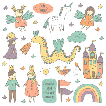 Cute hand drawn doodle fairy tale, wonderland, kingdom objects collection including castle, princess, prince, sprites, unicorn, cloud