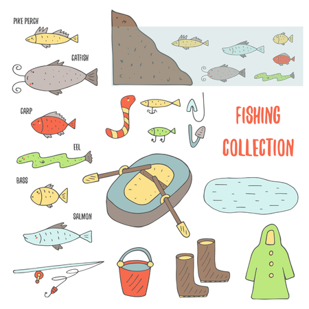habitat: Doodle fishing objects collection including inflatable boat with paddles, lake, rubber boots, bucket, fish habitat in water,coat, fishing rod Illustration