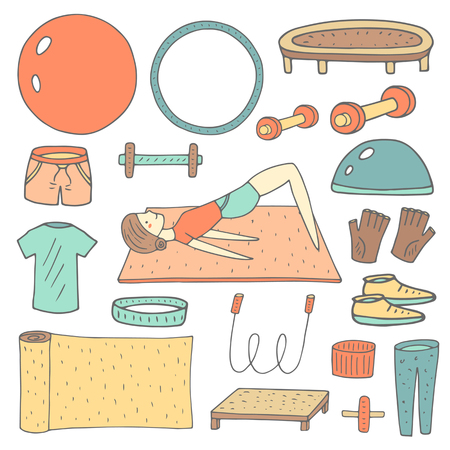 wristband: Cute hand drawn doodle fitness objects set including ball, hoop, jumping rope, shorts, t shirt, gloves, carpet, headband, wristband