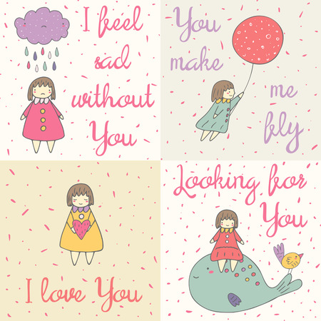 Cute hand drawn doodle cards with girl, cloud, balloon, heart, whale, bird. Romantic, positive covers about love, feelings, relationships. I love you background. You make me fly postcard