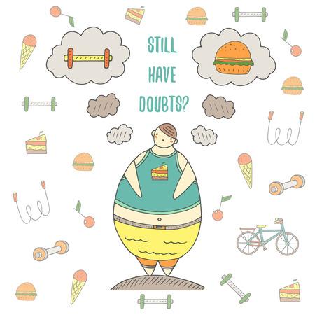 salud y deporte: chico dibujado a mano del doodle con el problema de peso pensando en qué hacer, comer hamburguesas o practicar deportes. problema de salud, postal dieta, fondo.