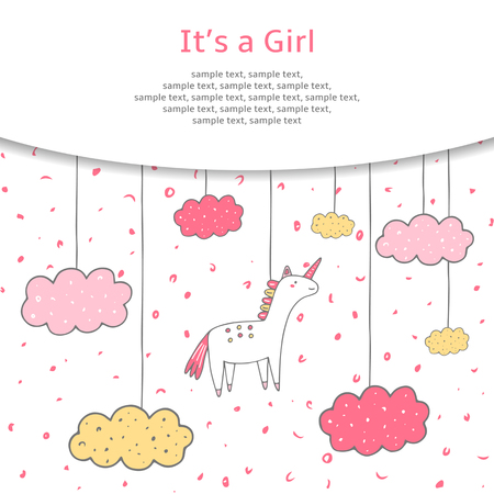unicorn: Cute hand drawn doodle baby shower cover, card, background. Its a girl postcard with unicorn and clouds in the sky