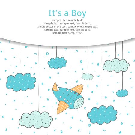 아기: 귀여운 손으로 그린 낙서 베이비 샤워 카드, 커버, 하늘에 비행기와 구름 배경. 그것은 소년 엽서입니다.