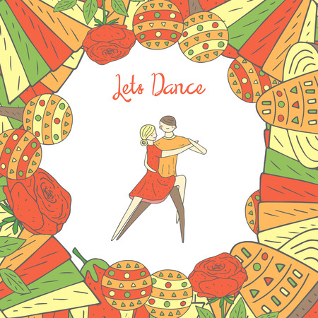 Cute hand drawn doodle dancing couple. Tango, rumba, latino dancers.