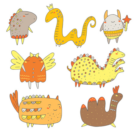 alien cool: Cute hand drawn doodle monsters, dragons collection. Funny monsters, creatures icon, banner, logo