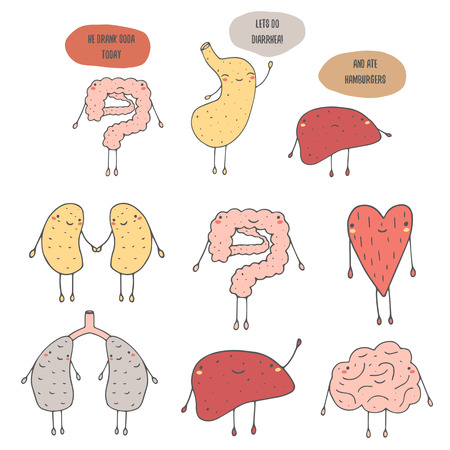 Cute hand drawn doodle internal human organs including heart, lungs, stomach, liver, kidney, intestine, brain. Funny dialog between organs about diet, food and diarrhea. Organs icon Illustration