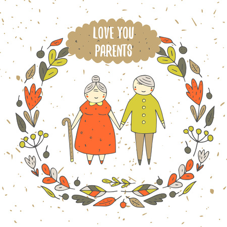 older couple: Cute hand drawn doodle card, background with parents, old couple. Love you parents postcard with flower, leaf, berry frame, text space. Respect, remember your parents motivating cover