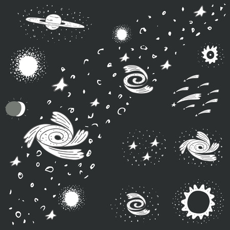 nebulosity: Cute hand drawn doodle space, cosmos objects collection including milky way, galaxy, black hole, star, sun eclipse, falling stars, ball cluster, shining star, stardust. Universe elements, icons