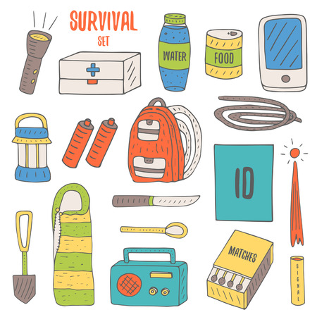 oggetti Doodle per la sopravvivenza in una catastrofe, il campeggio, tra cui lanterna, zaino, radio, partite, scatola di emergenza, una bottiglia d'acqua