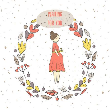 Carte mignonne de griffonnage tiré par la main, couvrir avec la femme enceinte entourée de fleur, feuille, éléments de la nature cadre. Carte postale avec la femme d'attente pour bébé. Contexte pour le jour de mère ou le bébé partie de douche