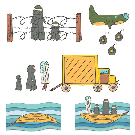 Hand drawn doodle refugees collection. Muslim refugee with child behind wire fence on the country border. Refugees ready to sit in the truck. Refugees in the boat trying to cross the sea.