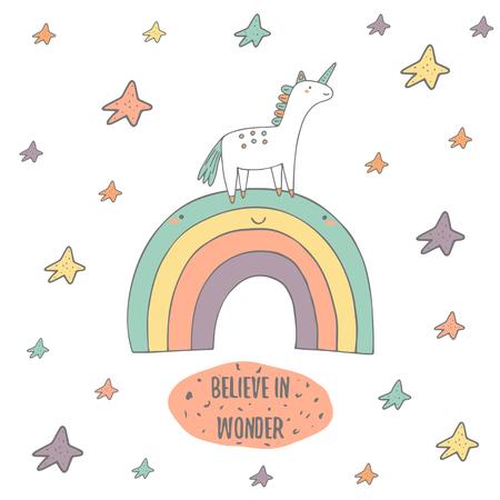 Leuke hand getrokken doodle kaart, briefkaart met sprookje eenhoorn, regenboog en sterren. Geloof in wonder positief, motiverend deksel met tekst ruimte